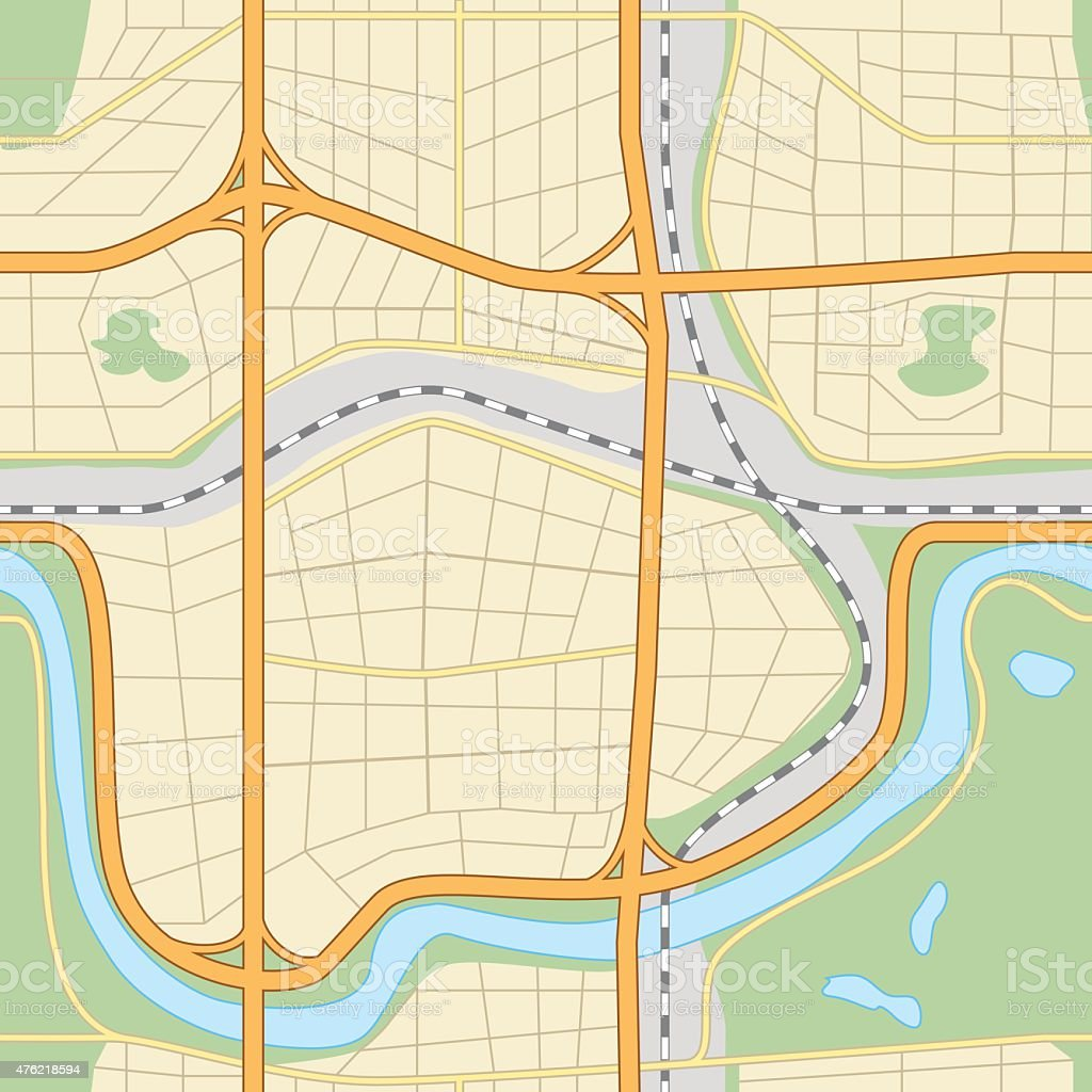 seamless city map with roads and parks vector art illustration