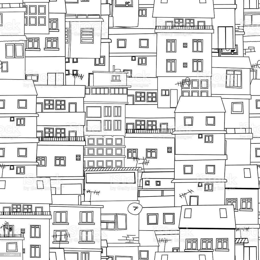 Seamless city sketch vector art illustration