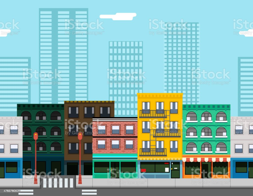 Seamless City Street Concept Flat Design Town Landscape Background Game vector art illustration