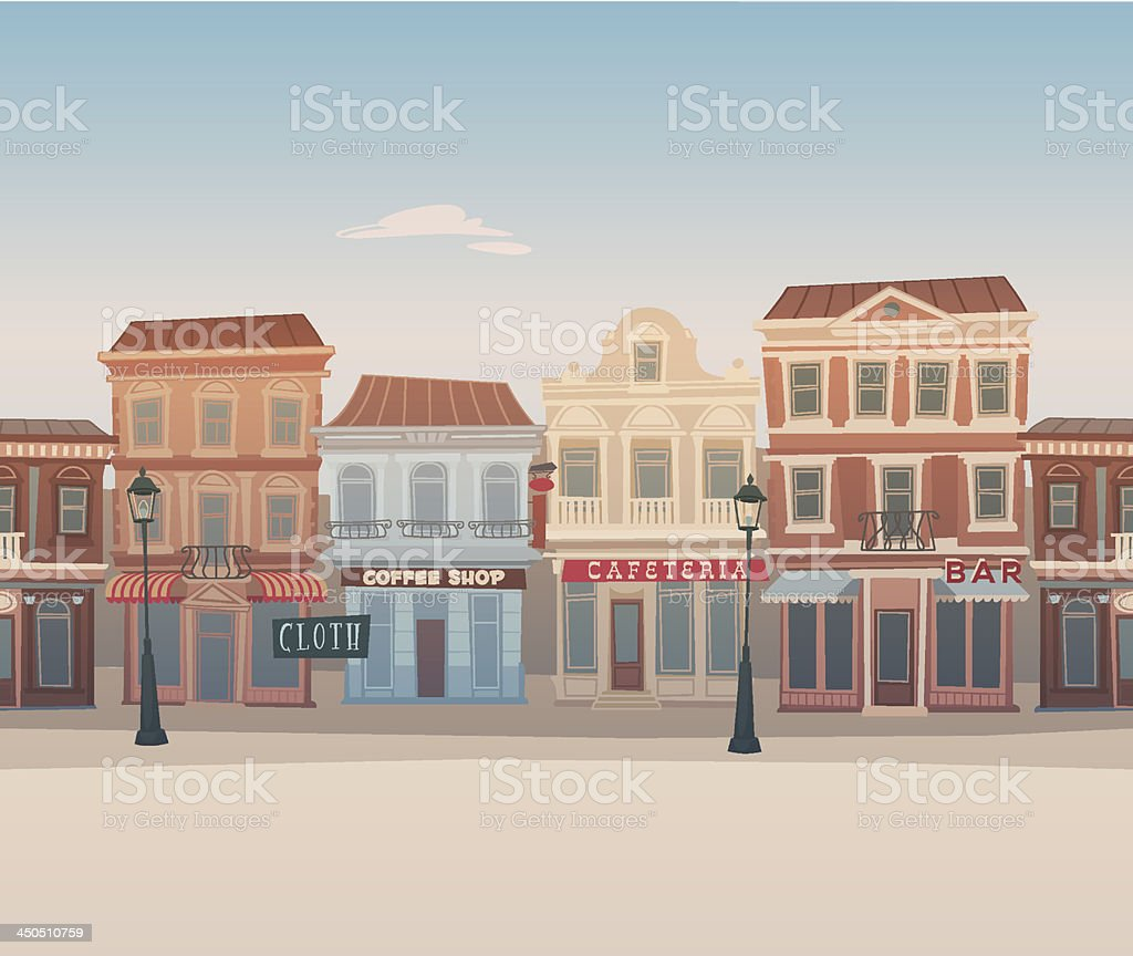Seamless city street vector art illustration