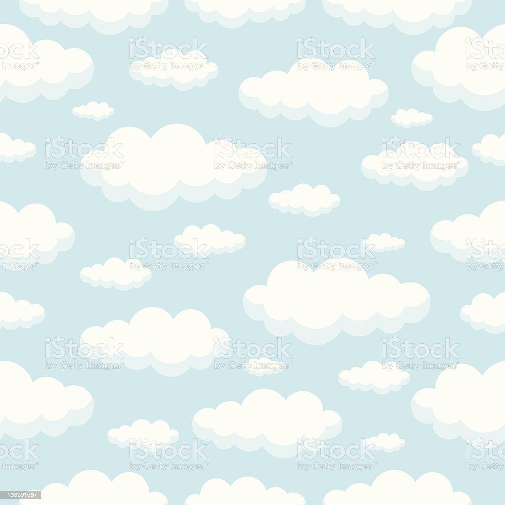 Seamless Clouds Pattern vector art illustration