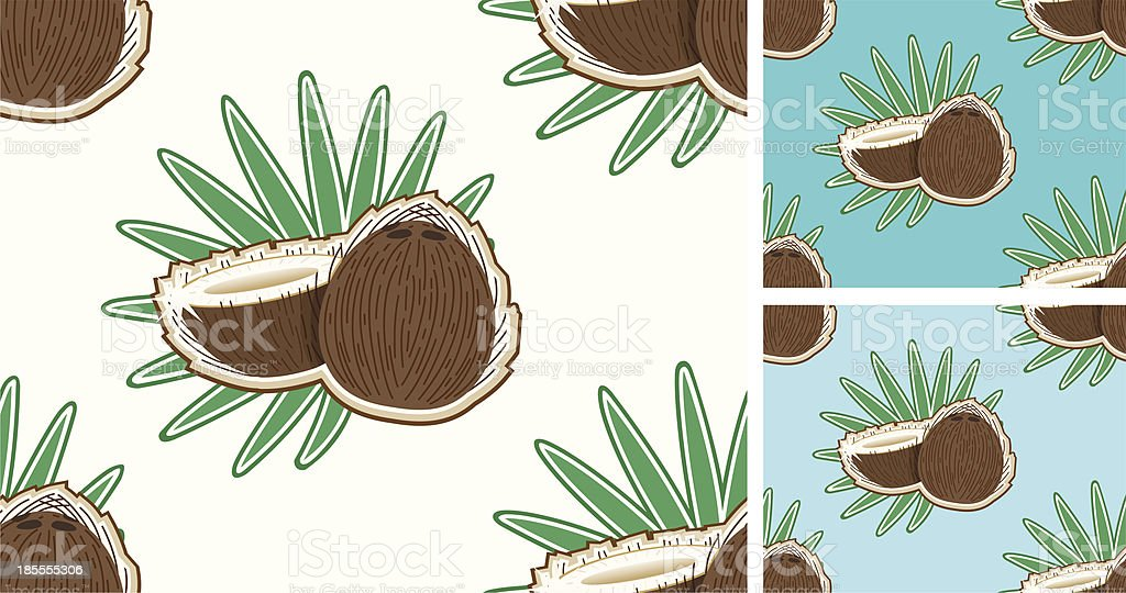 seamless Cocospattern with leafs (outlined). vector art illustration