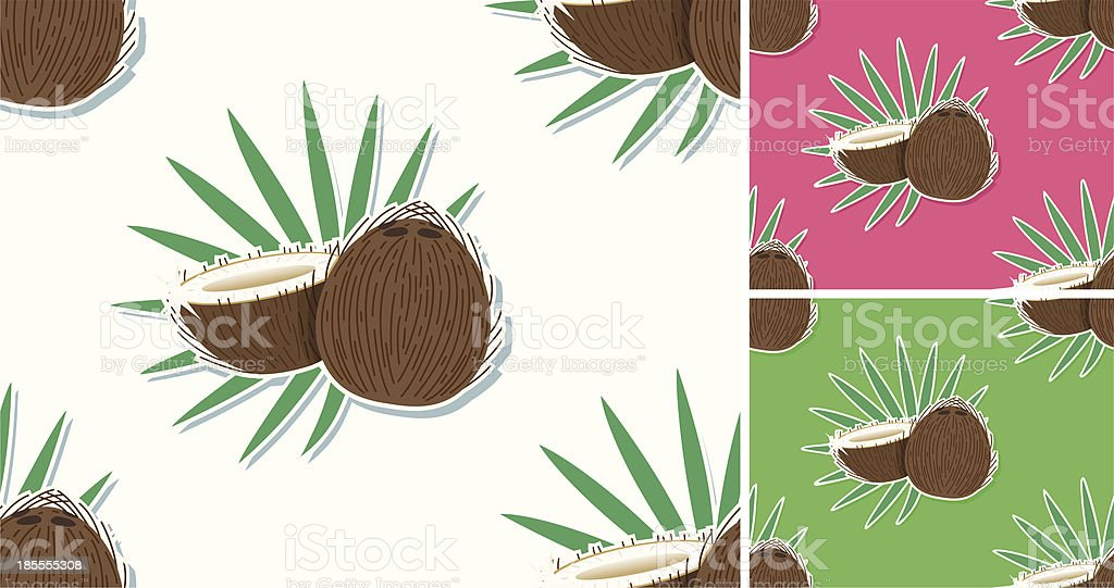seamless Cocospattern with leafs. vector art illustration
