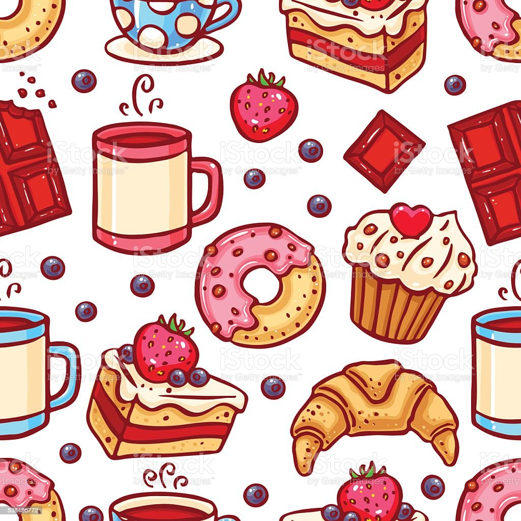 seamless coffee and desserts icons vector art illustration