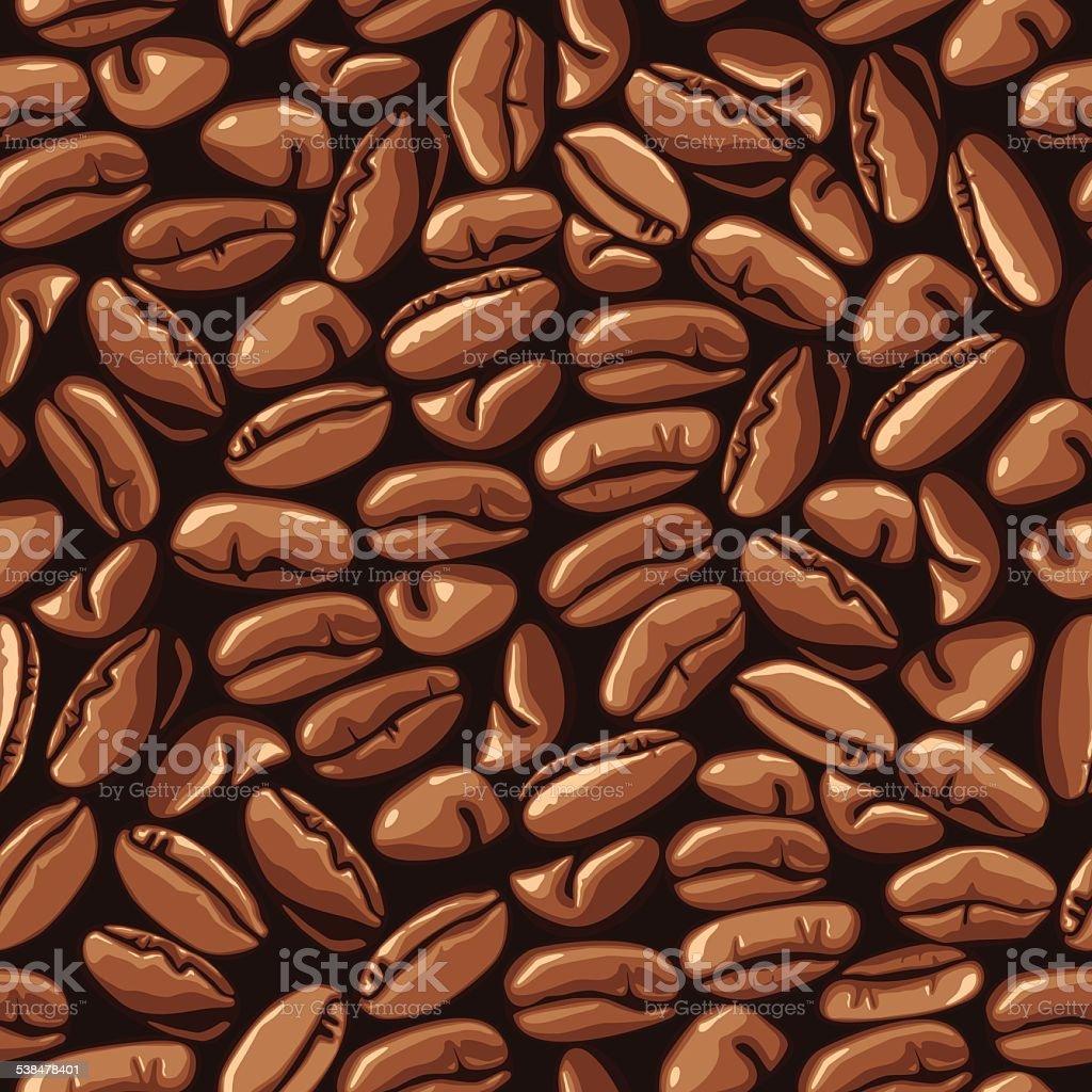 Seamless Coffee Beans Pattern vector art illustration
