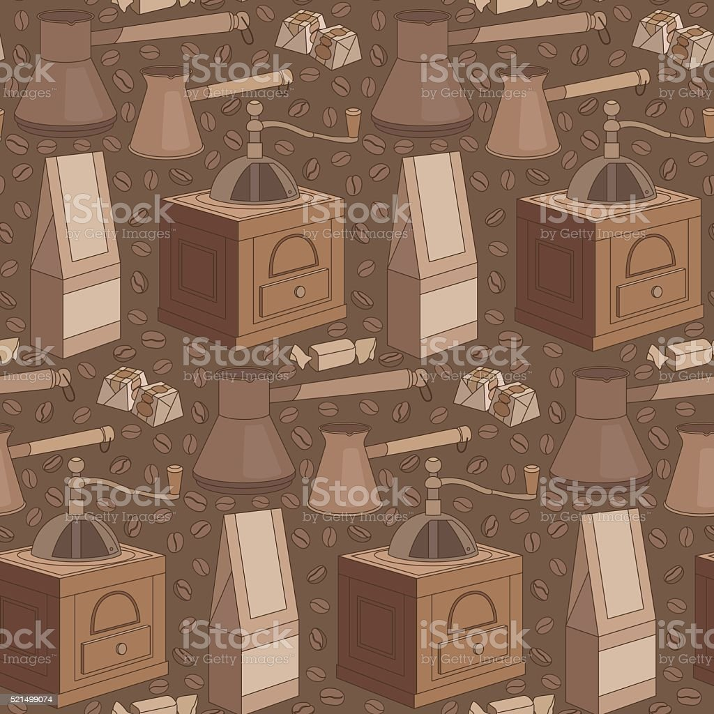 seamless coffee pattern vector art illustration
