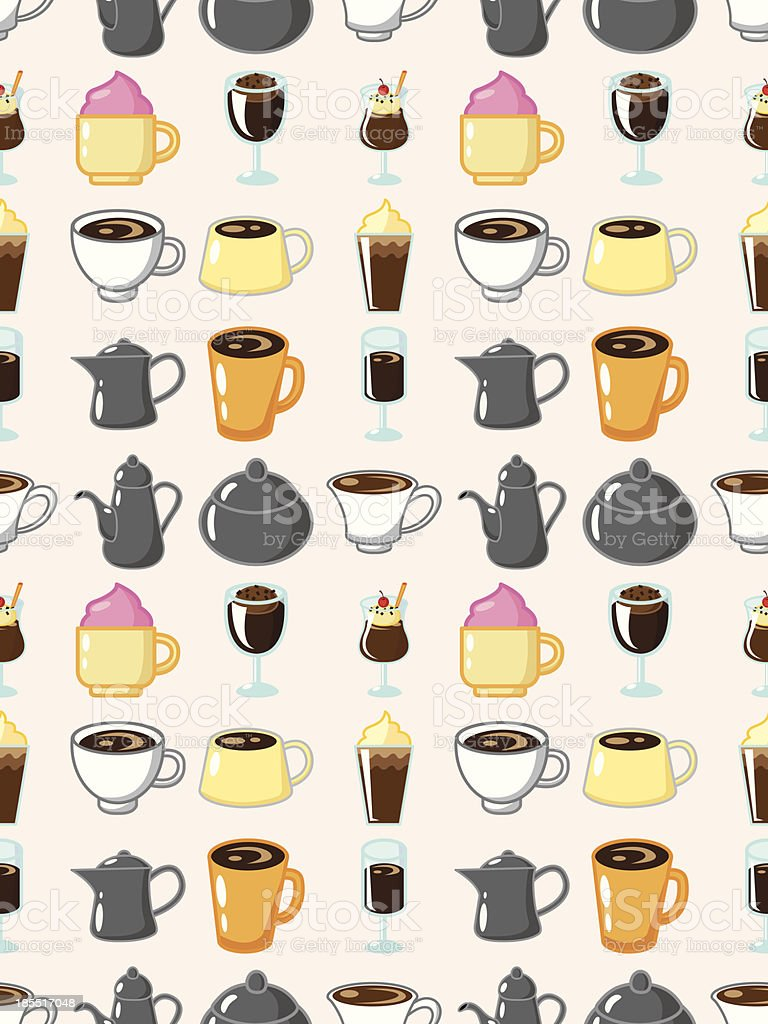 seamless coffee pattern,cartoon vector illustration royalty-free stock vector art