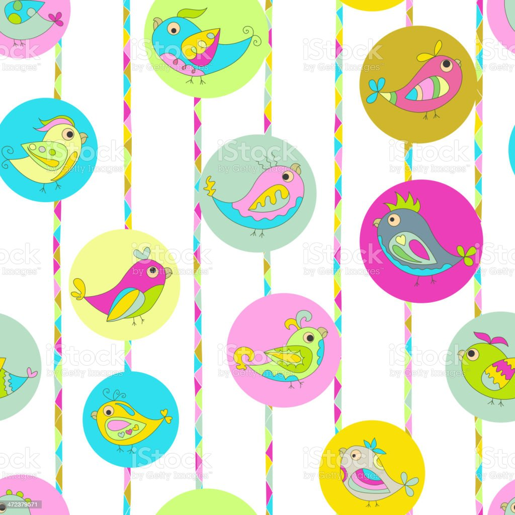Seamless color background image parrots vector art illustration