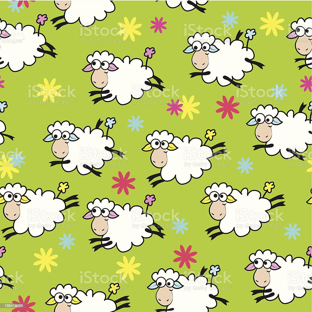Seamless color background with cute sheep royalty-free stock vector art