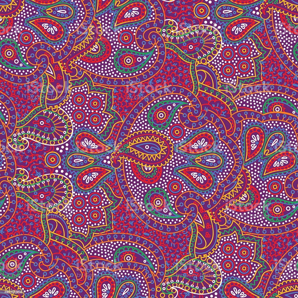 Seamless color paisley pattern vector art illustration