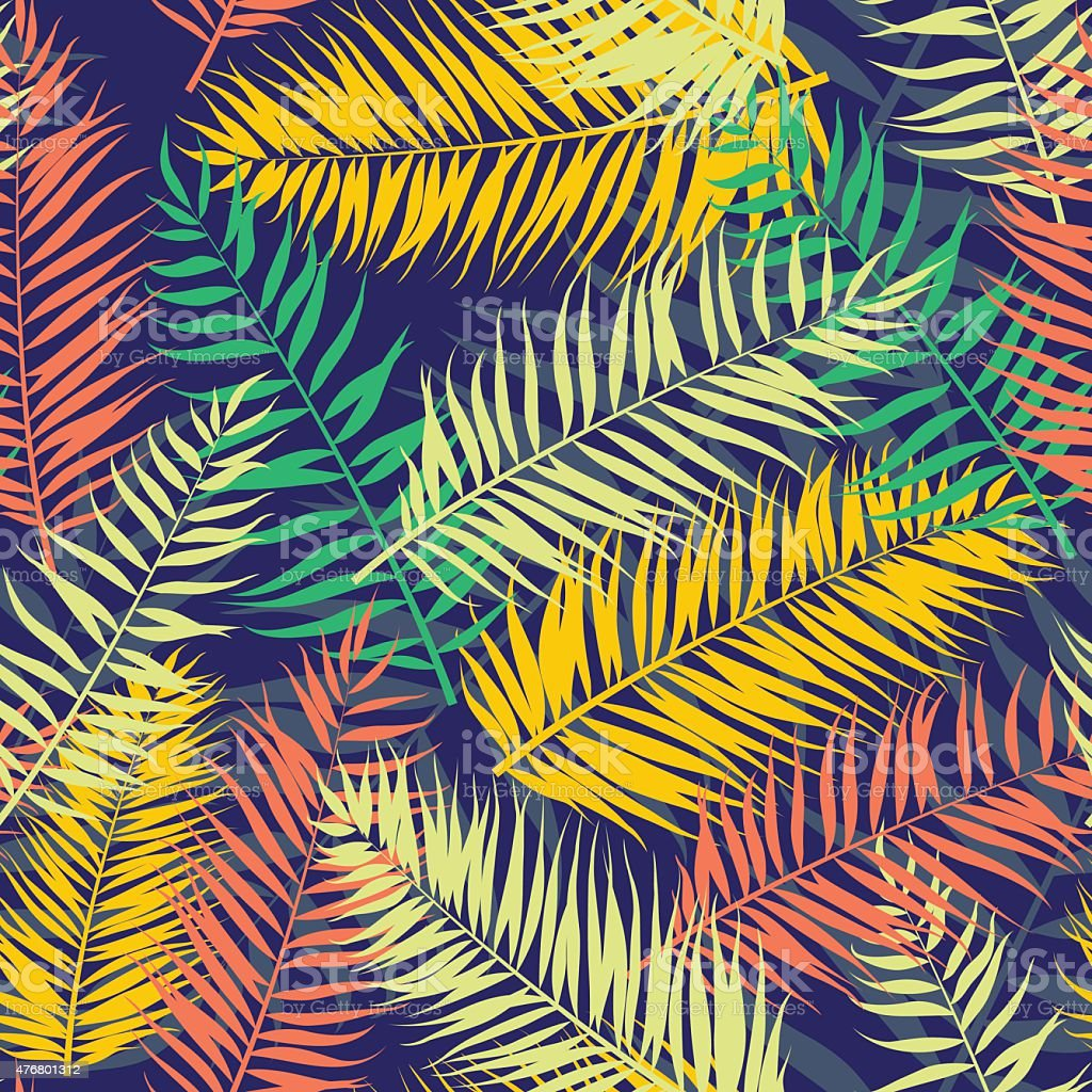Seamless color palm leaves pattern. Flat style vector art illustration