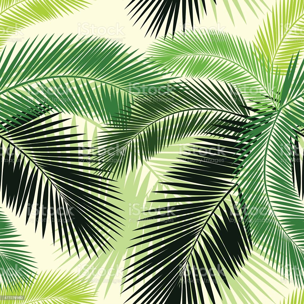 Seamless color palm leaves pattern vector art illustration