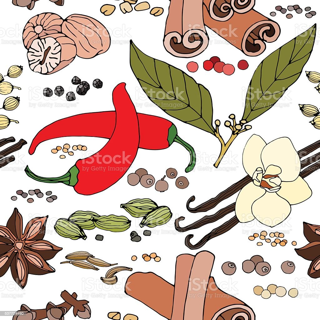seamless color pattern of spice and herbs vector art illustration