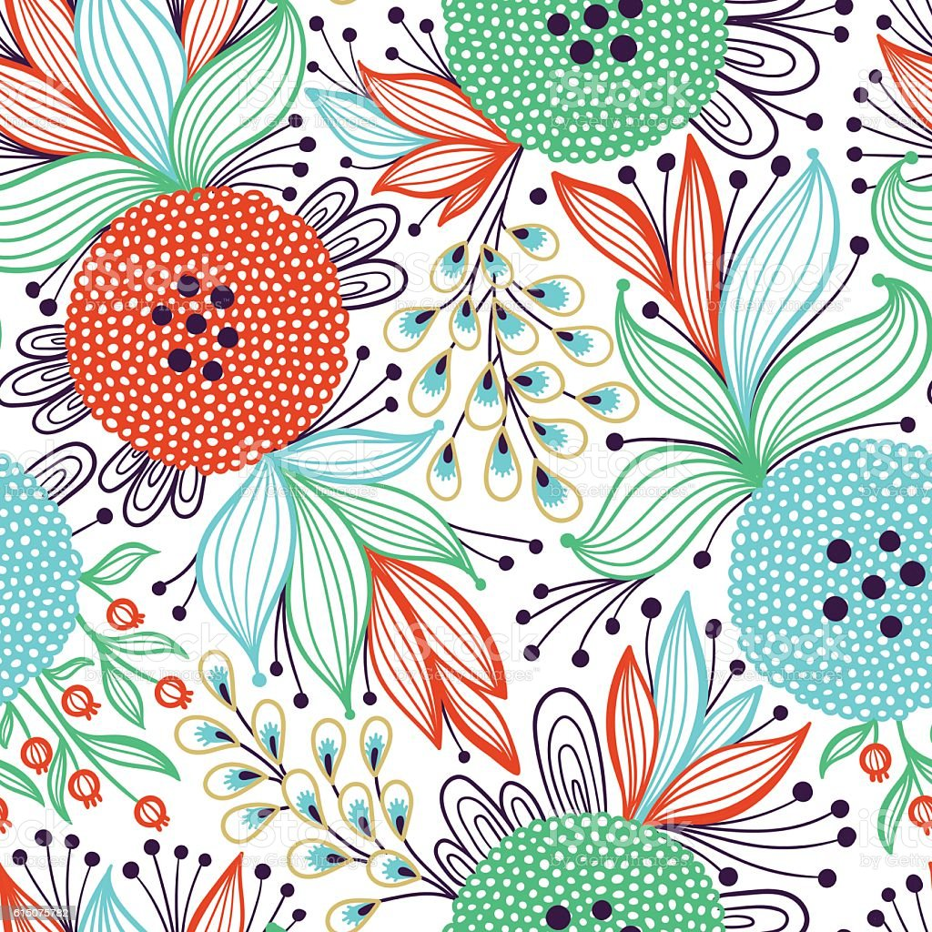 Seamless colorful abstract floral pattern vector art illustration