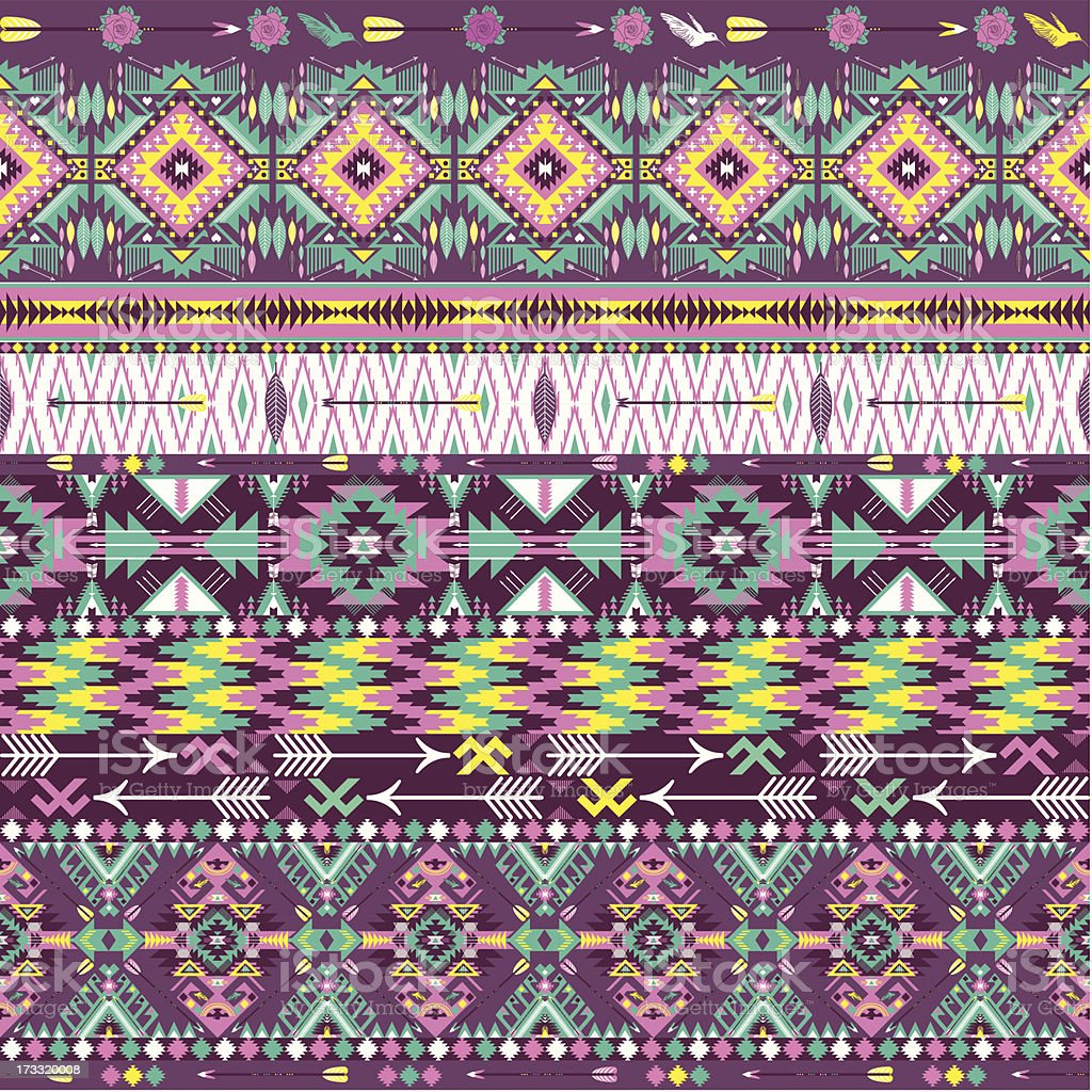 Seamless colorful aztec geometric pattern royalty-free stock vector art