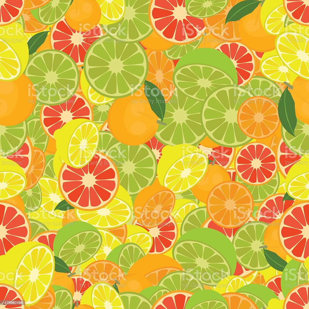Seamless colorful background made of citrus fruits vector art illustration