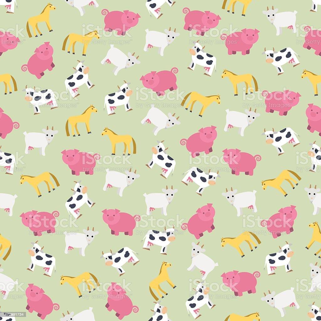 シームレスなカラフルな背景の農場飼育動物 のイラスト素材 472991734