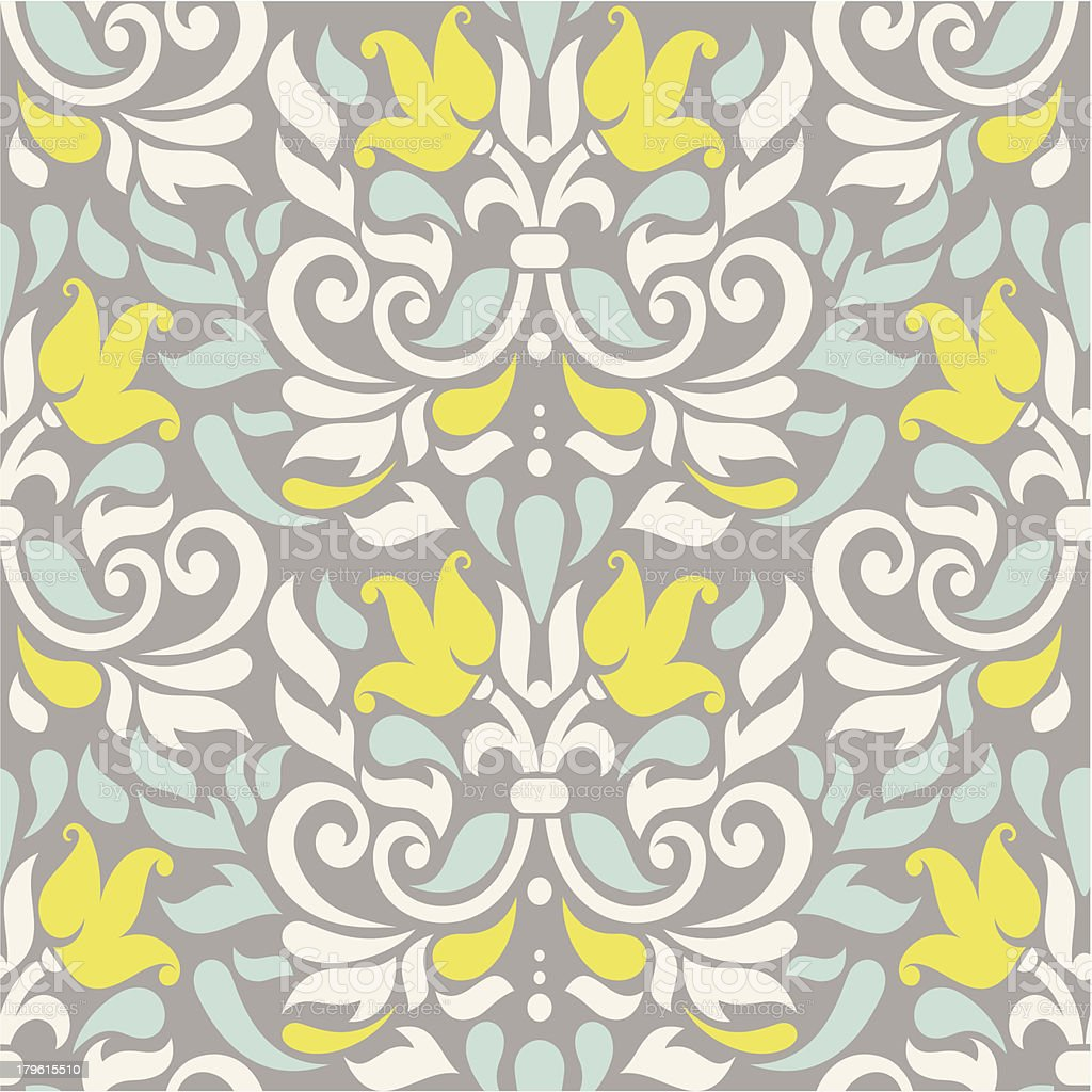seamless colorful damask pattern vector art illustration