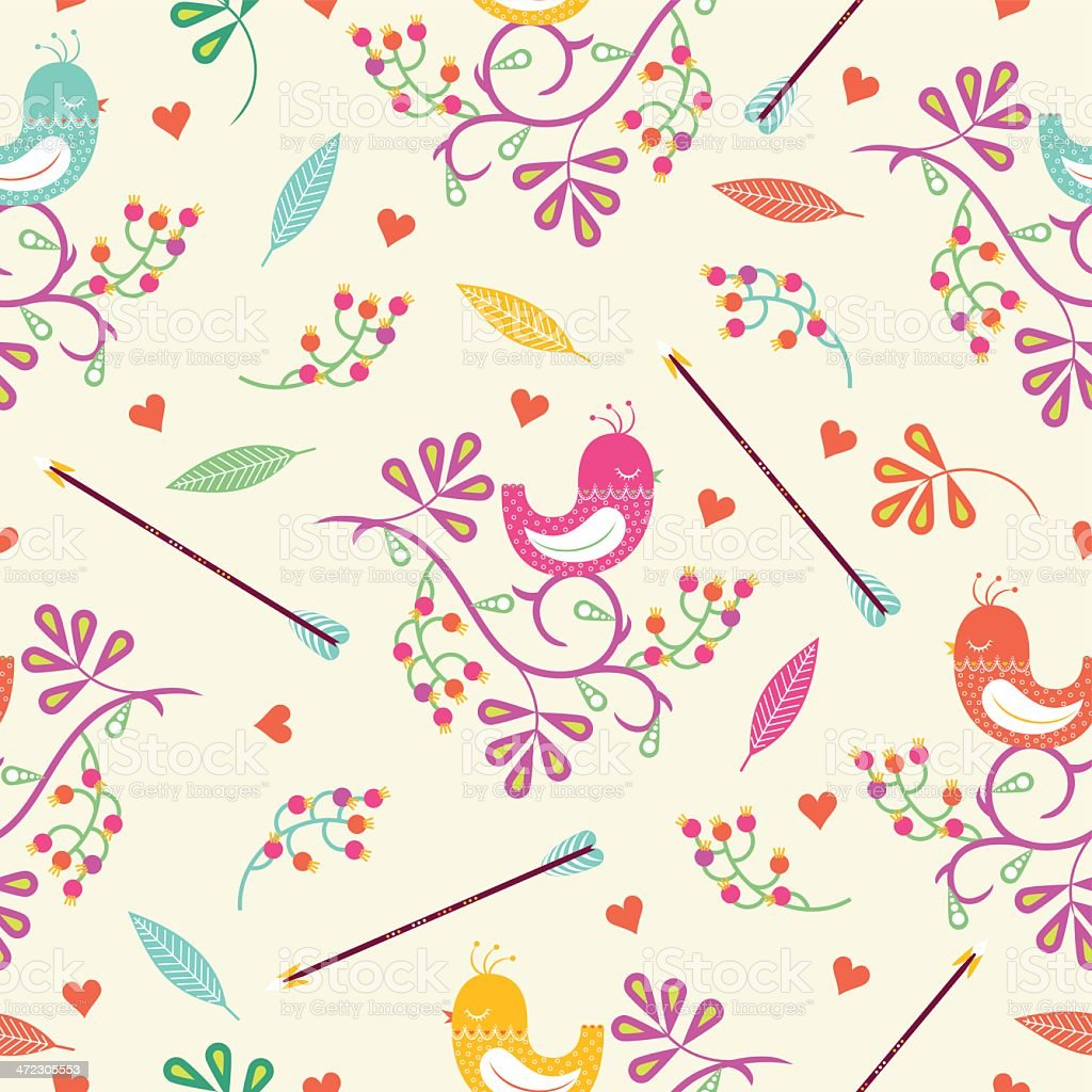 Seamless colorful floral pattern with birds and berry royalty-free stock vector art