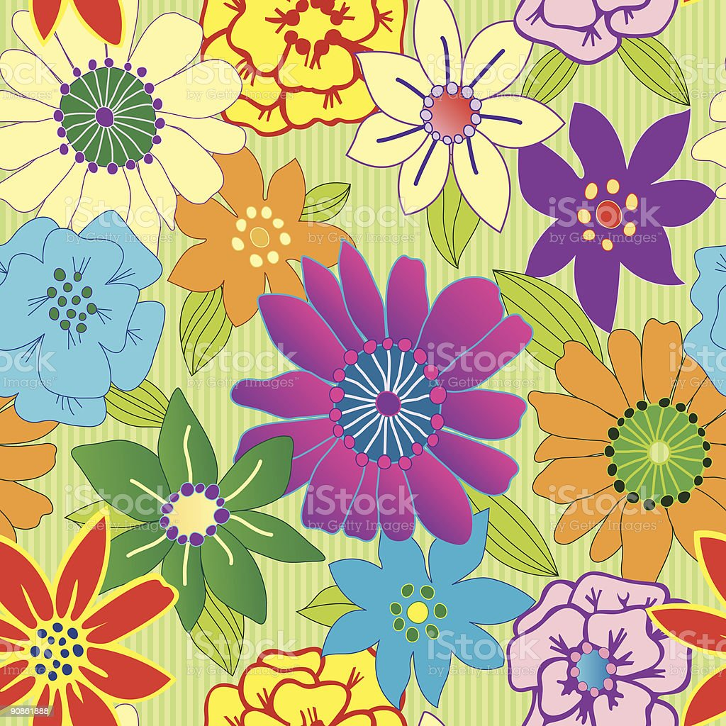 Seamless colorful floral repeating background royalty-free stock vector art