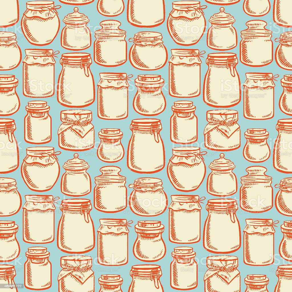 seamless colorful mason jars - 3 vector art illustration