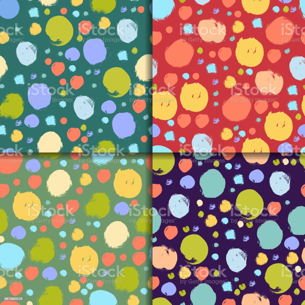 Seamless colorful pattern set with circles vector art illustration