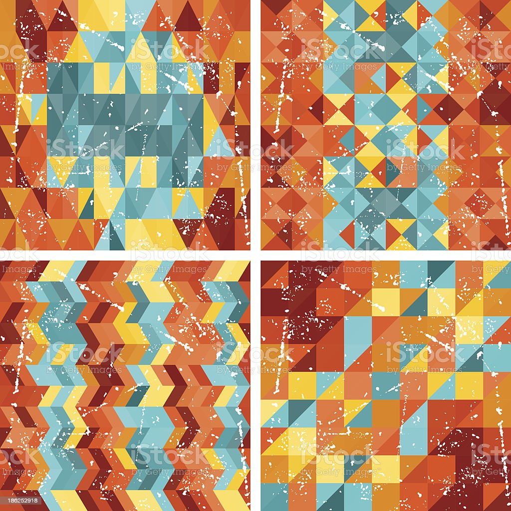 Seamless colorfull geometric patterns in retro style. royalty-free stock vector art
