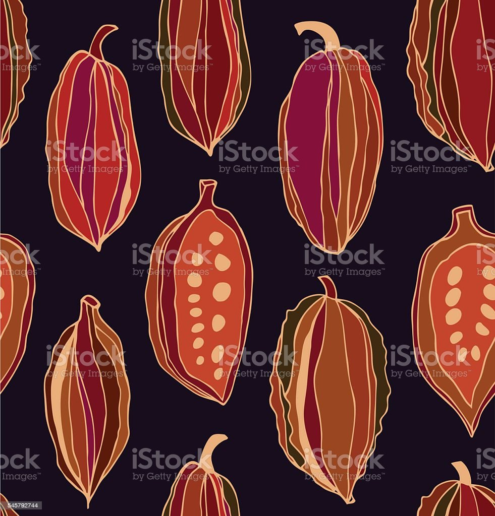 Seamless contrast pattern with cocoa beans. vector art illustration