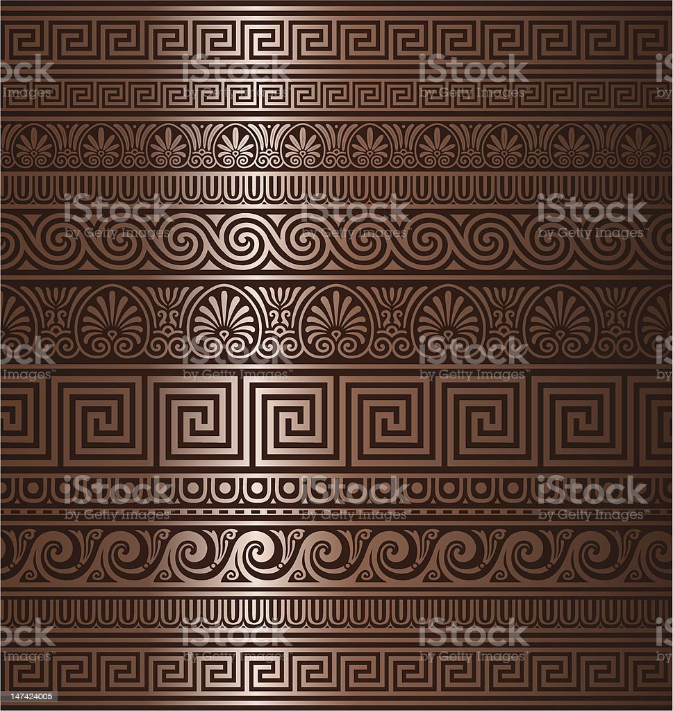 Seamless copper Greek ornaments royalty-free stock vector art