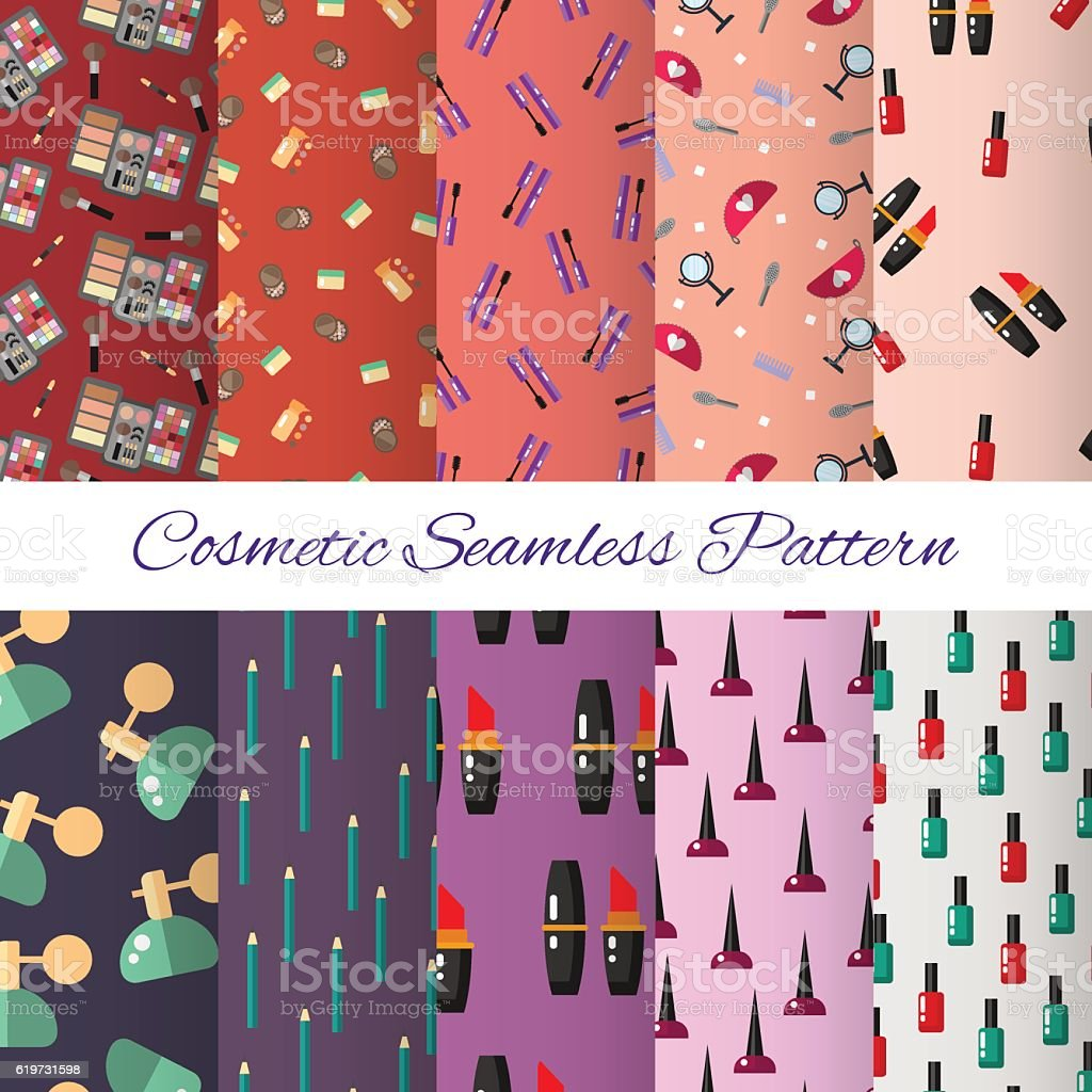Seamless cosmetic pattern. Make up set design elements - vector...
