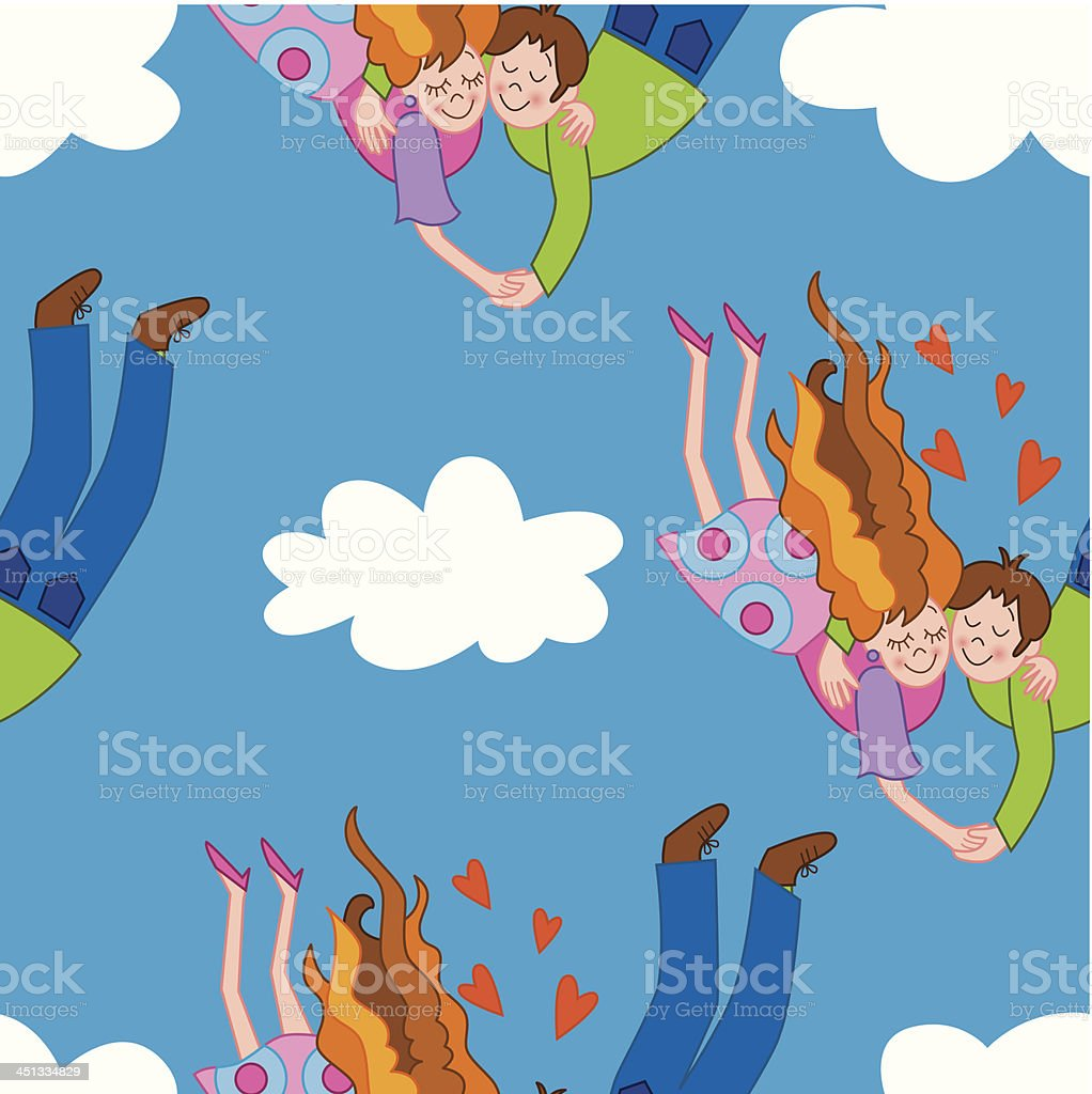 Seamless couple falling in love royalty-free stock vector art
