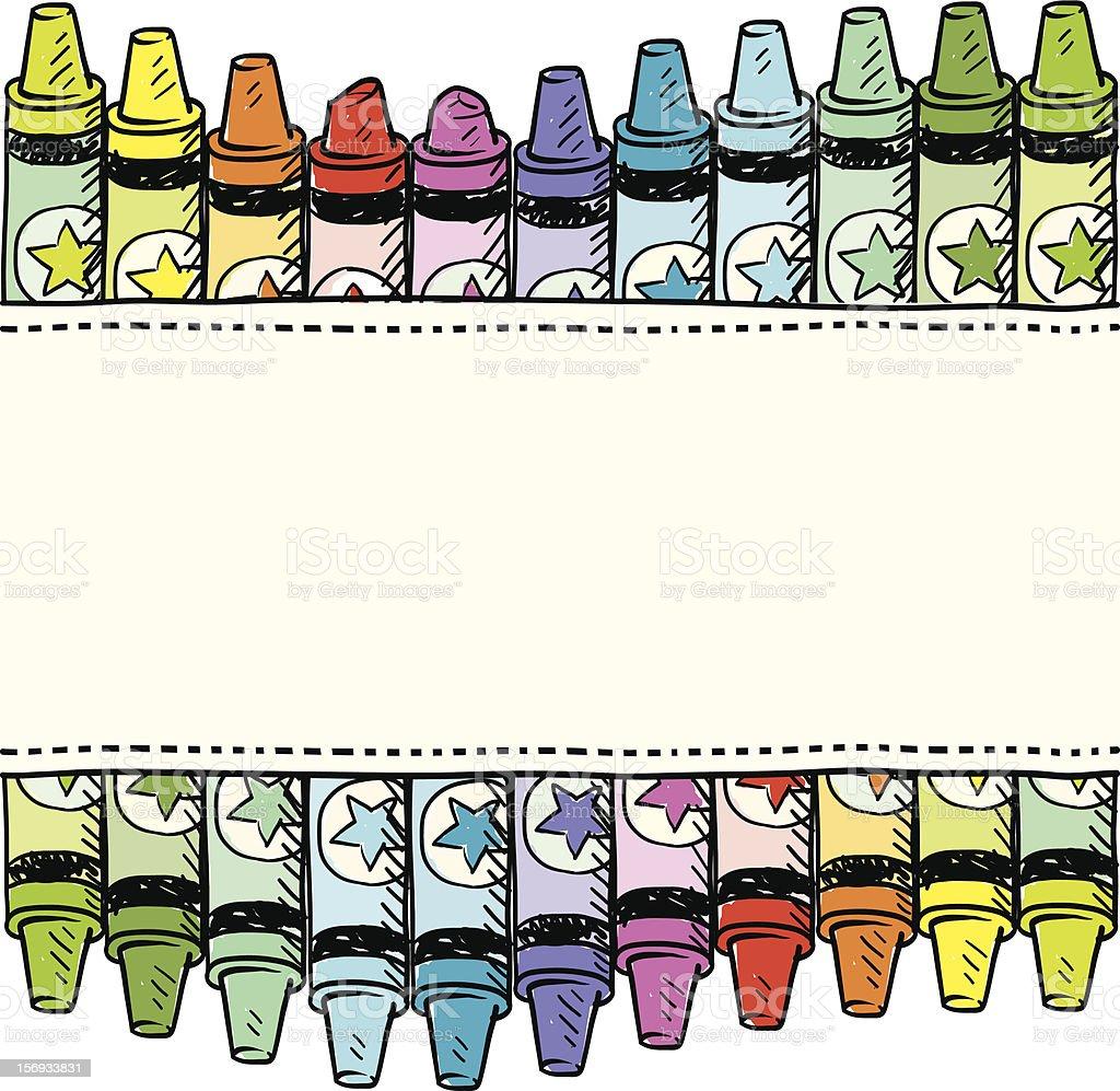 Seamless crayon vector border or label vector art illustration