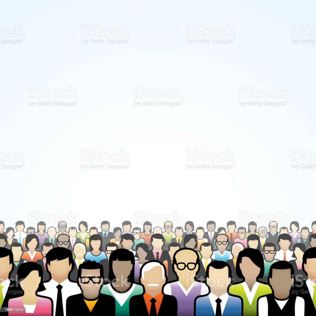 Seamless crowd background vector art illustration
