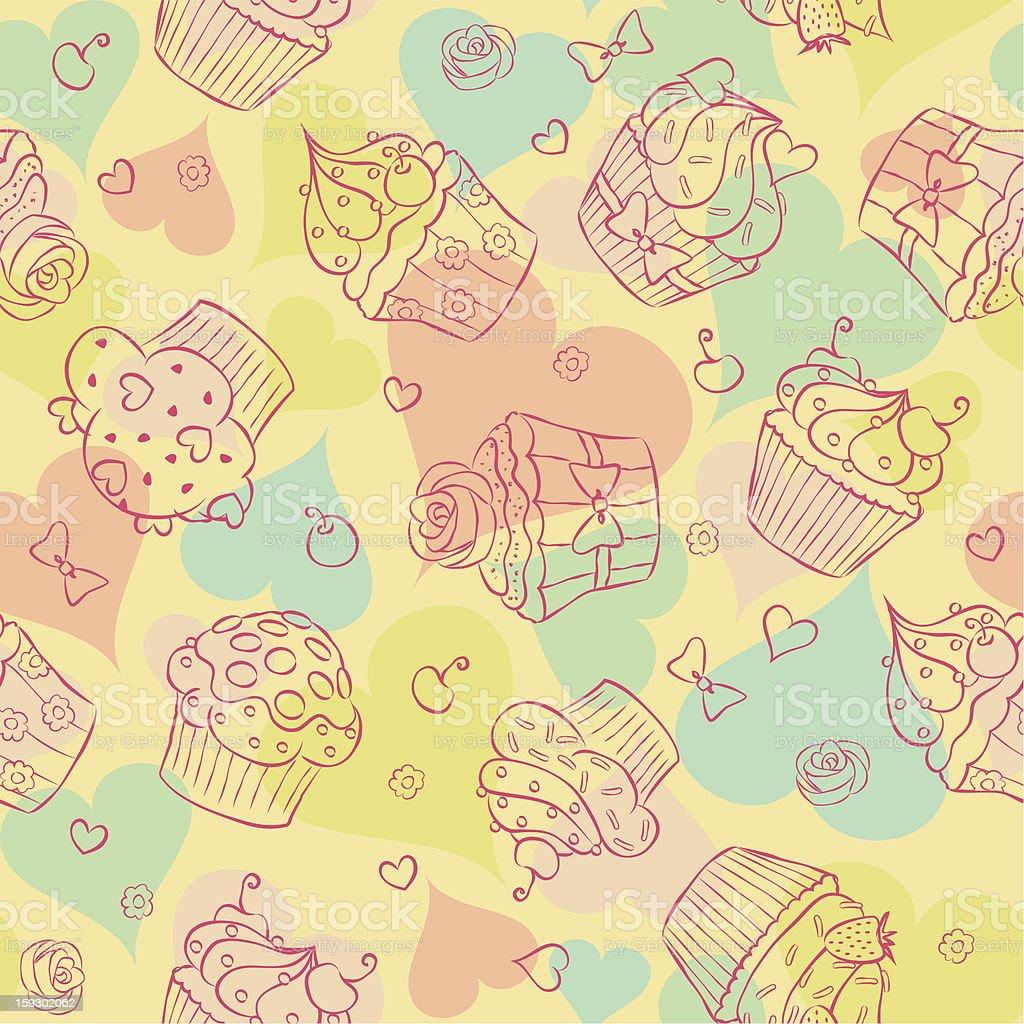 Seamless cupcakes! royalty-free stock vector art