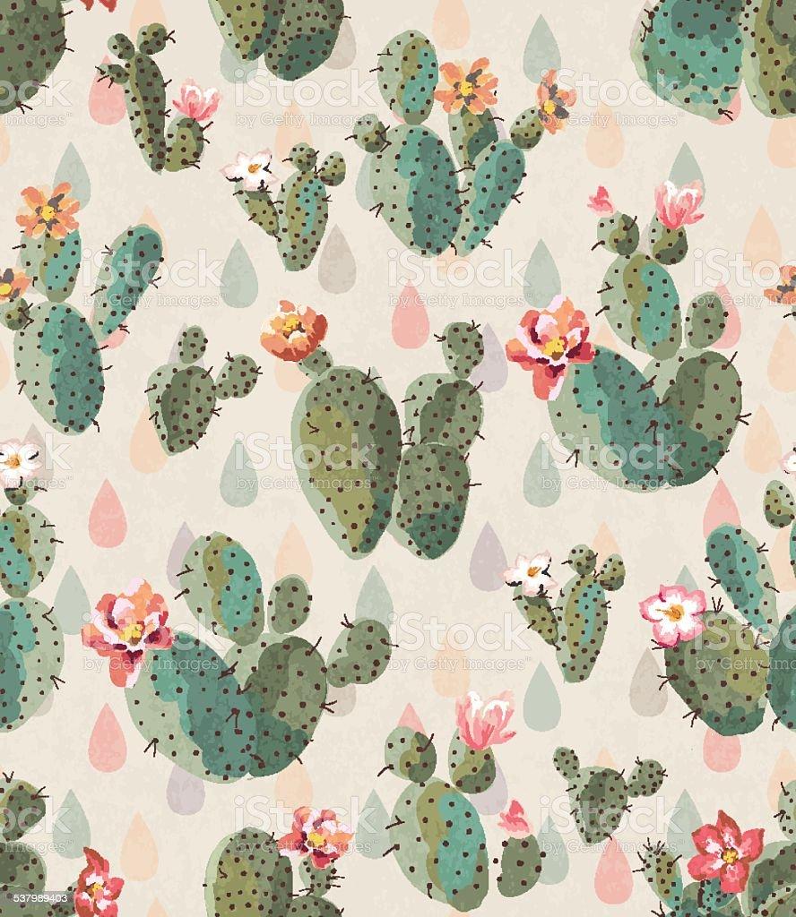 seamless cute cactus print pattern background vector art illustration