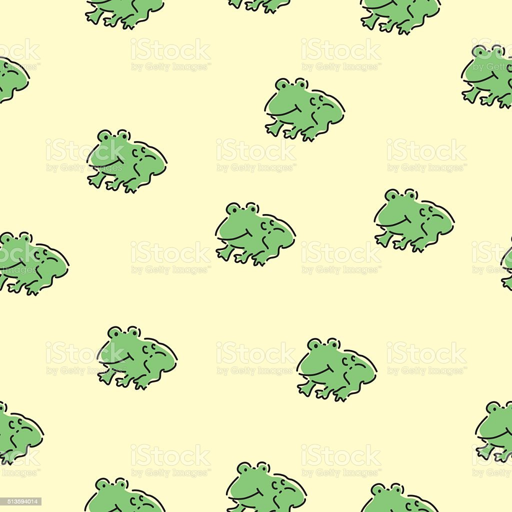 Seamless Cute Frogs Pattern vector art illustration