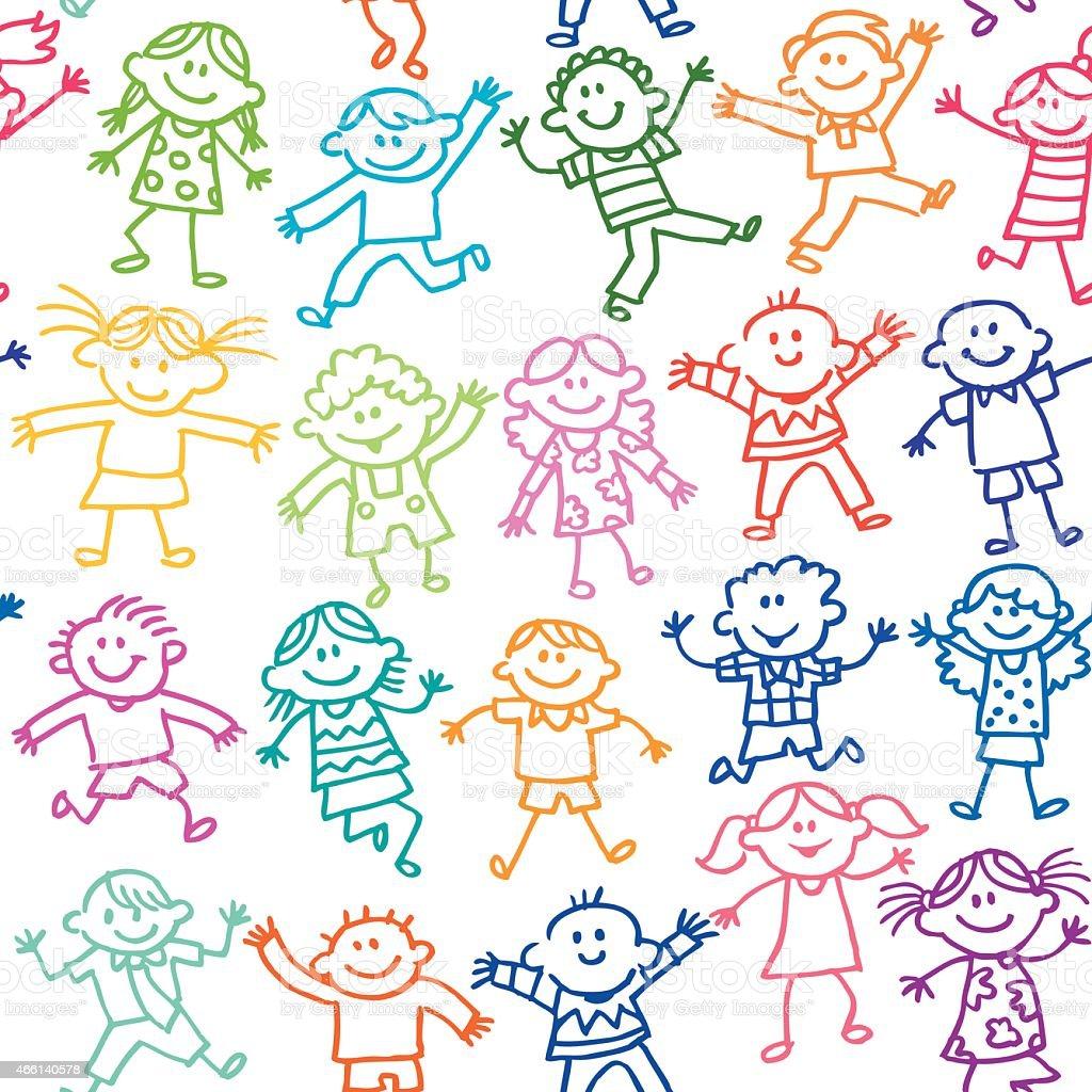 Seamless Cute Kids vector art illustration
