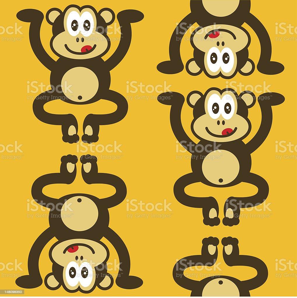 seamless cute little monkey pattern royalty-free stock vector art