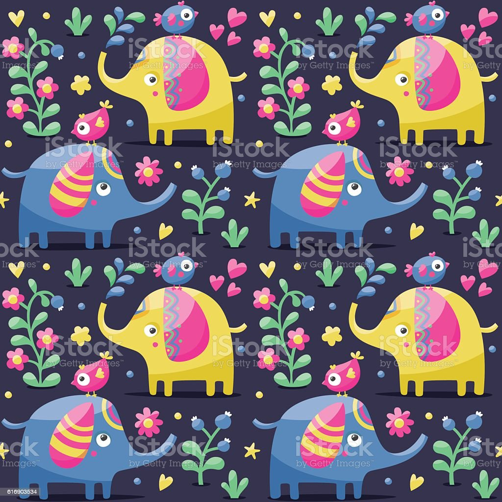 Seamless cute pattern made with elephants, birds, plants, jungle, flowers vector art illustration