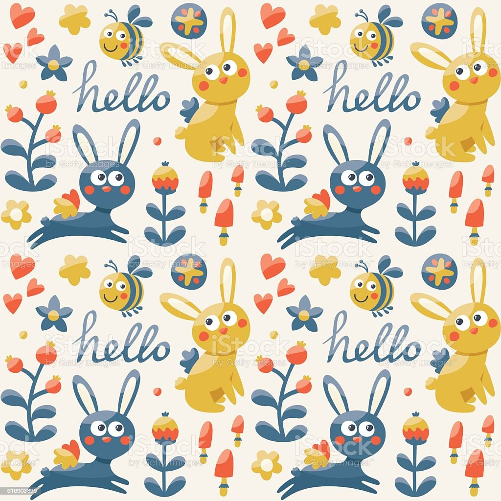 Seamless cute pattern made with fox, rabbit, hare, flowers, animals vector art illustration