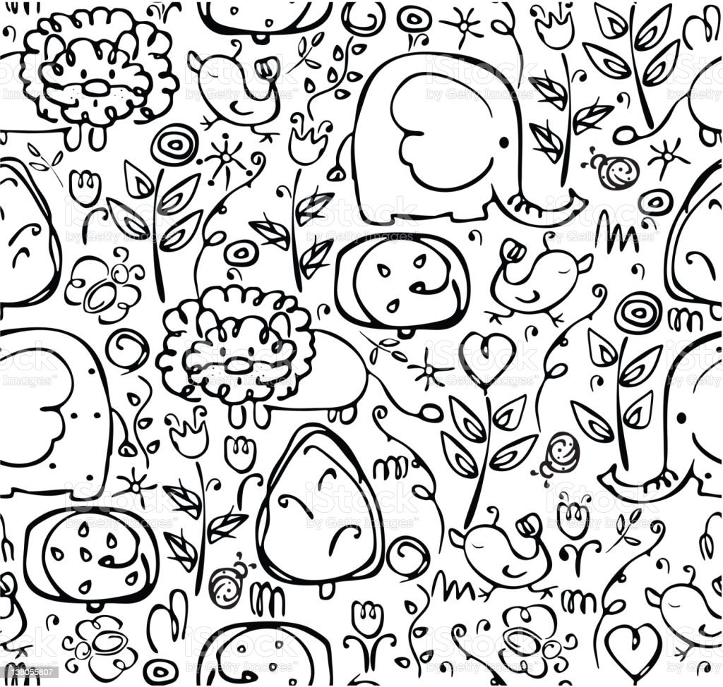 Seamless cute pattern of flora and fauna royalty-free stock vector art