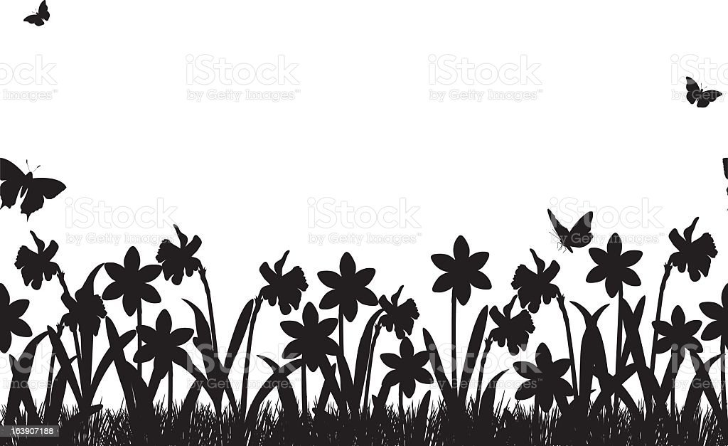 Seamless Daffodils and Grass Border vector art illustration
