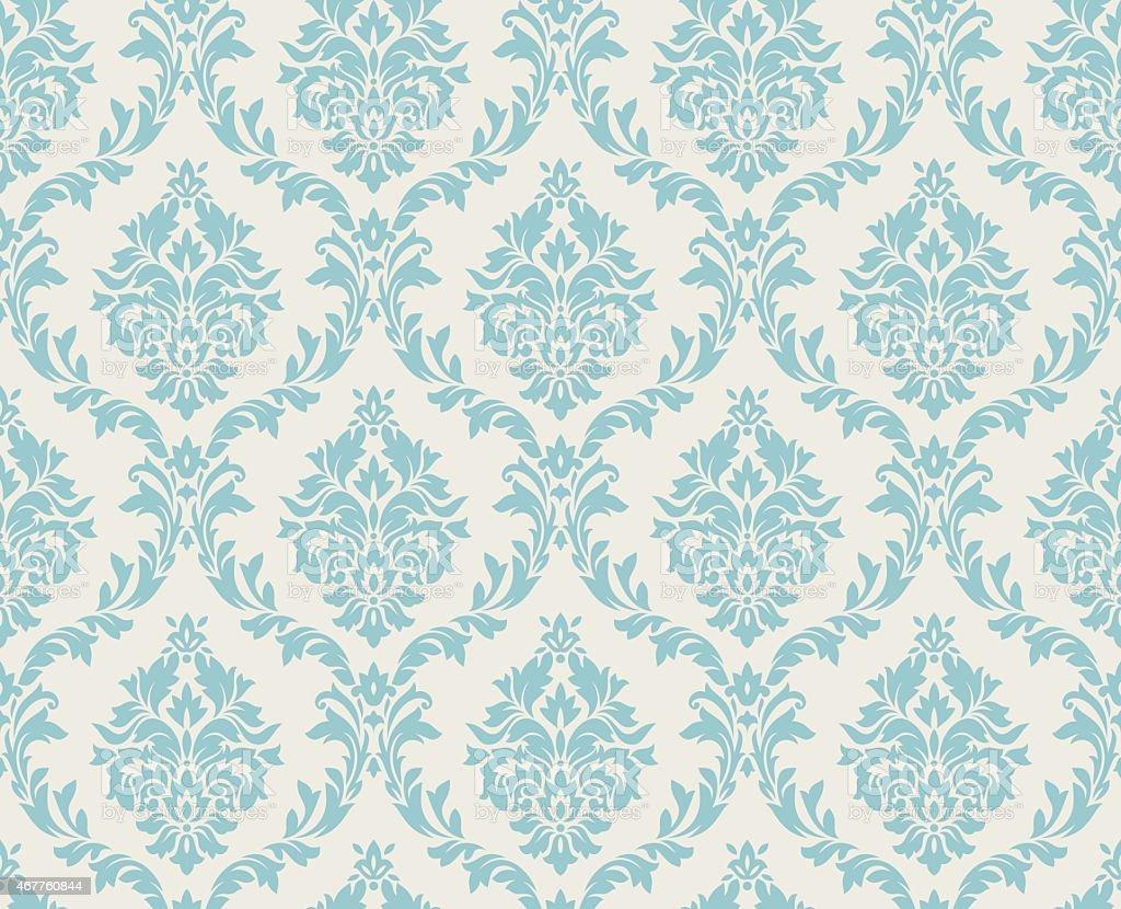 Seamless damask pattern done in light blue vector art illustration