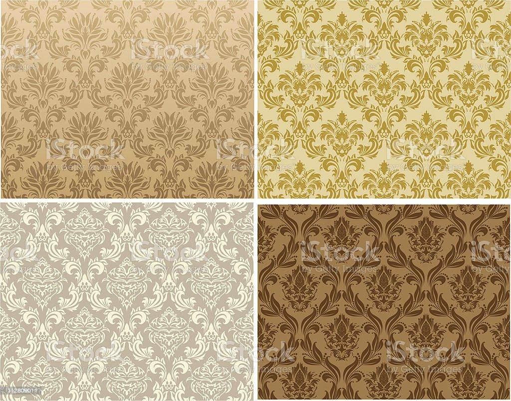 seamless damask pattern set royalty-free stock vector art