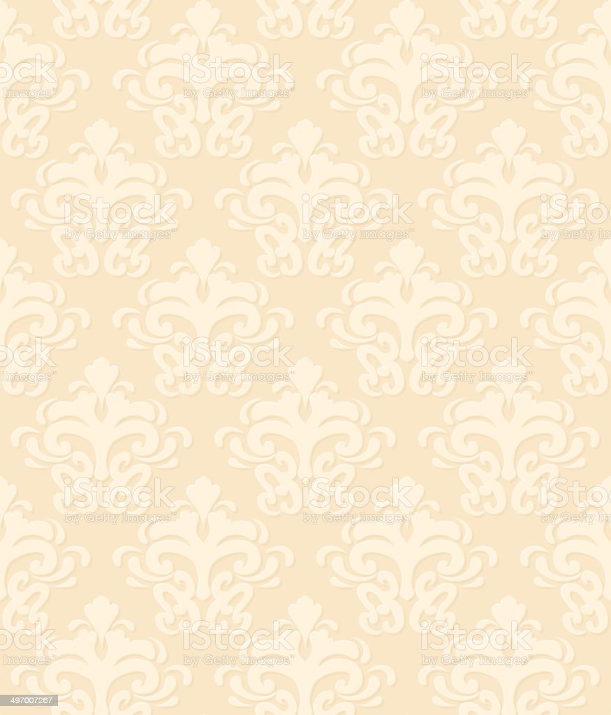 Seamless damask pattern vector art illustration