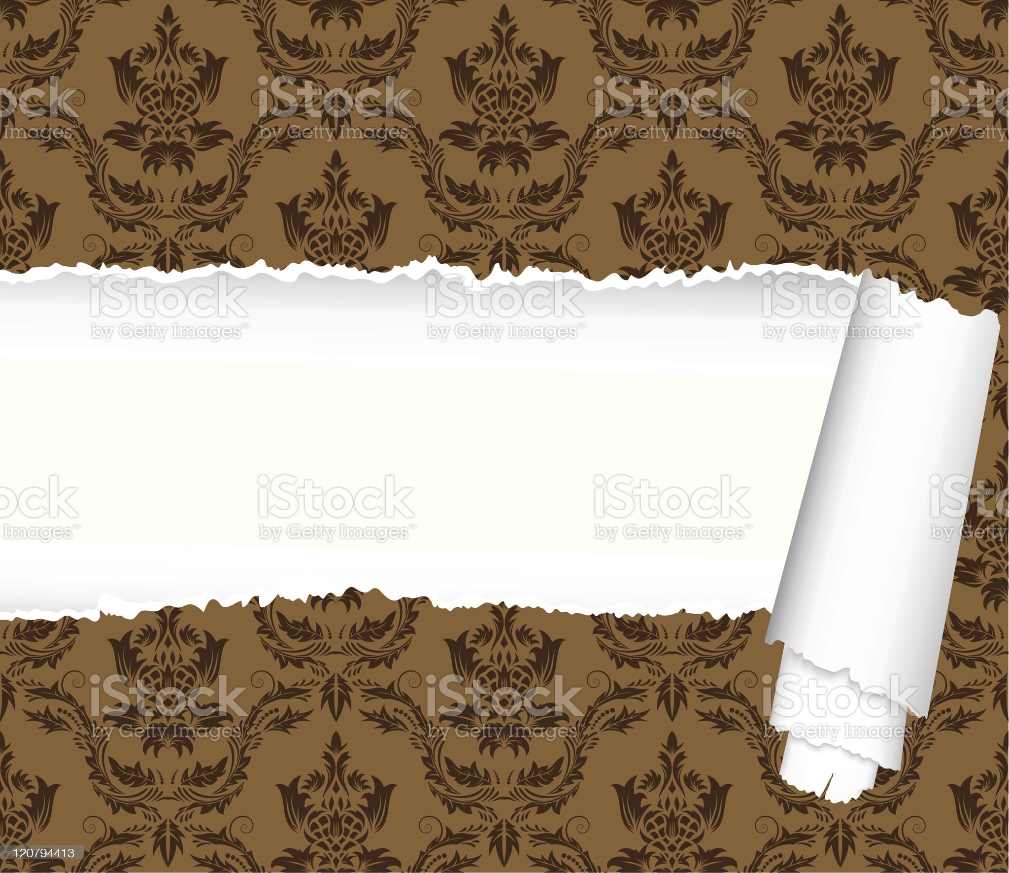 seamless damask pattern with ripped copy-space royalty-free stock vector art
