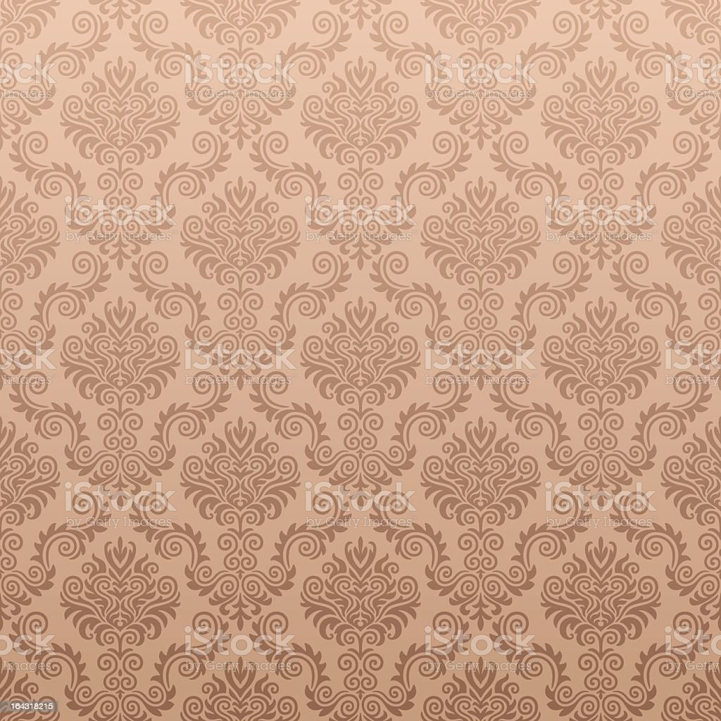 Seamless damask patterned wallpaper background in maroon royalty-free stock vector art