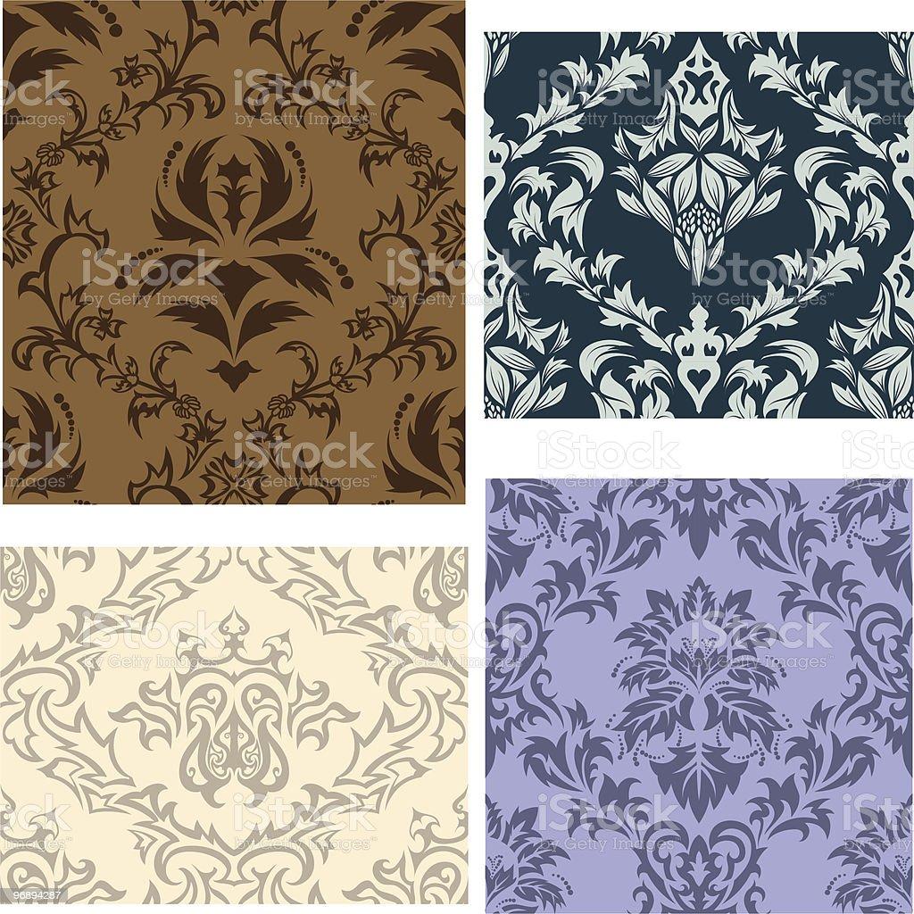 seamless damask patterns set royalty-free stock vector art