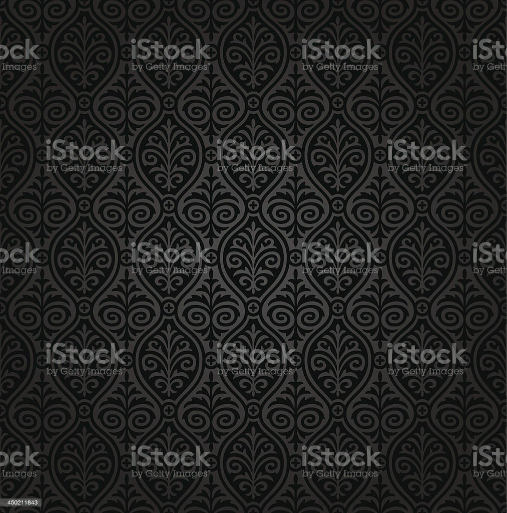 Seamless damask vector pattern vector art illustration