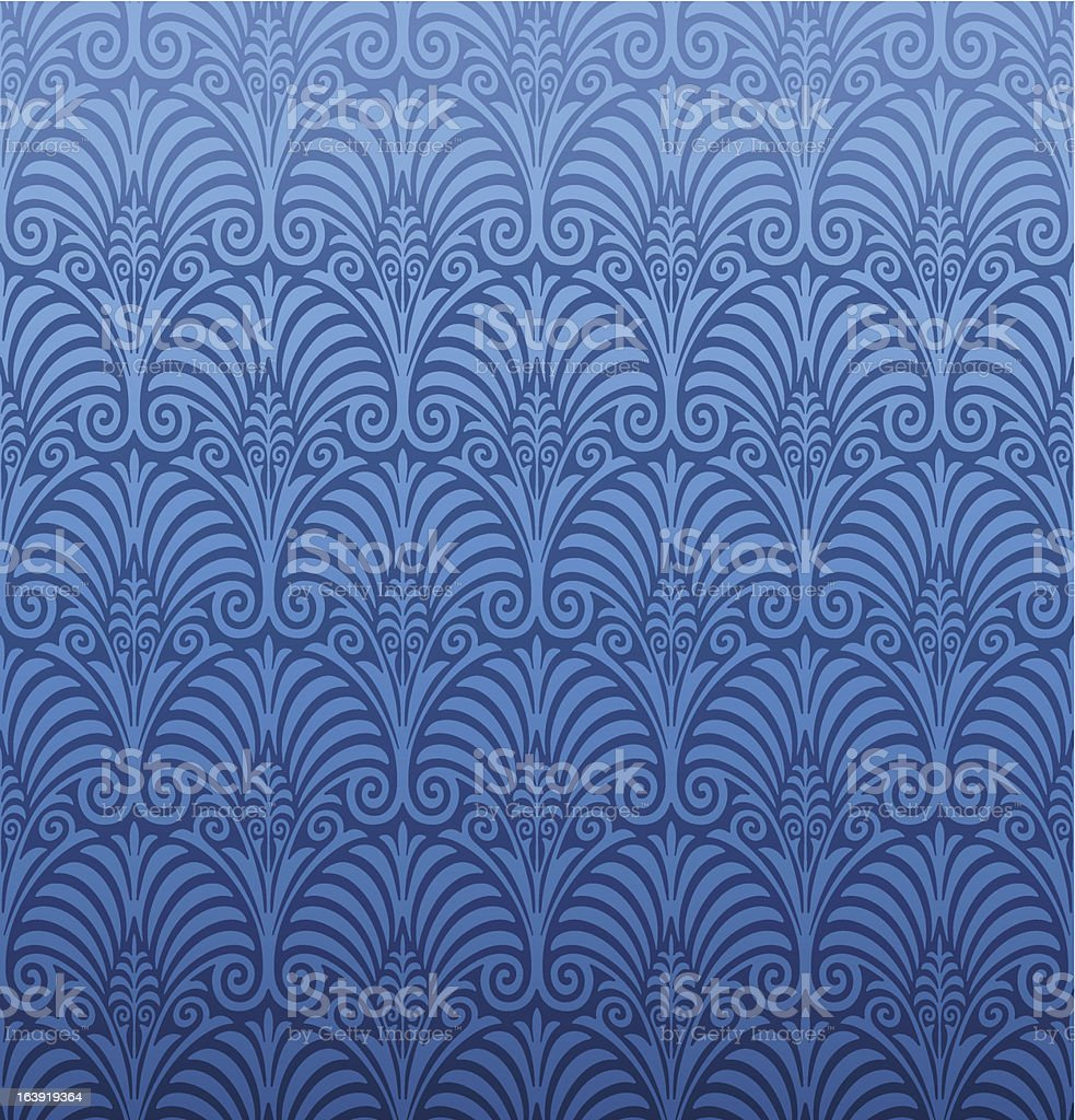 Seamless damask wallpaper in shades of blue royalty-free stock vector art